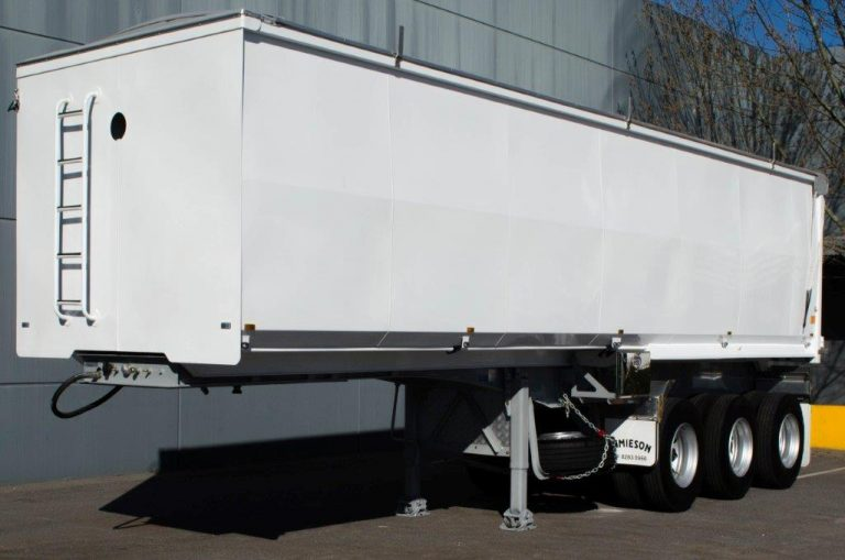Steel Tri Axle Semi Tipper - Grain Fertiliser - Rear Side View 2