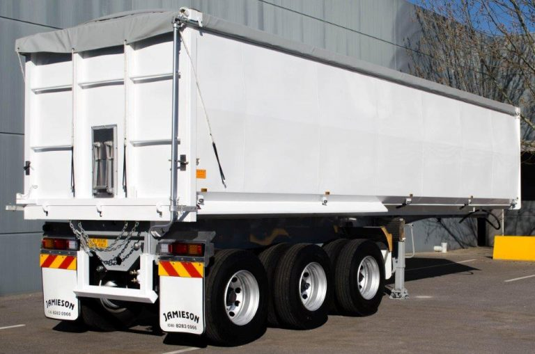 Steel Tri Axle Semi Tipper - Grain Fertiliser - Rear Side View