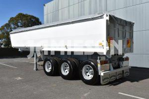 Hardox Quarry Tri Axle Semi Tipper - Rear Side View