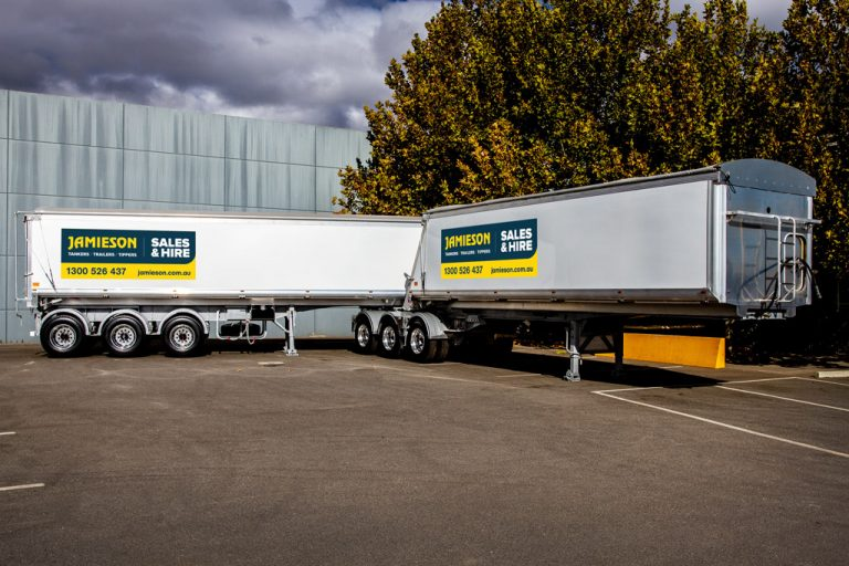 B-Double 30′ Slider & 33′ Tag Combination Aluminium Rear Chassis Tippers – Road Train
