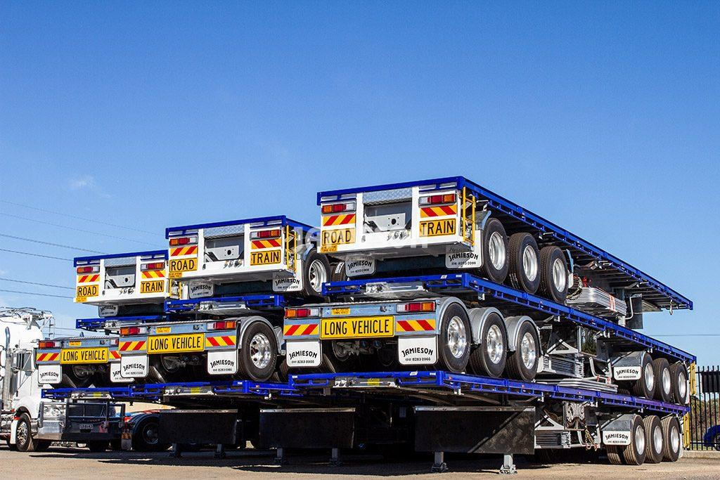 Flat Top Tri-Axle Semi Trailer with 12 Twist Locks and 3-Way Positioning