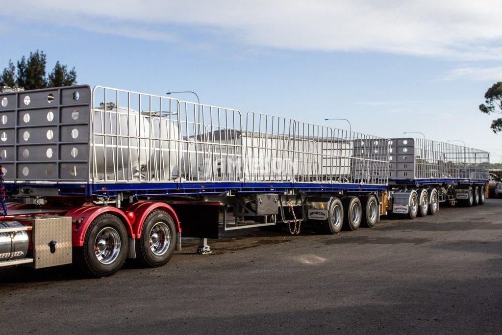 Flat Deck Trailer Road Train Configuration - With Tri-Axle Dolly