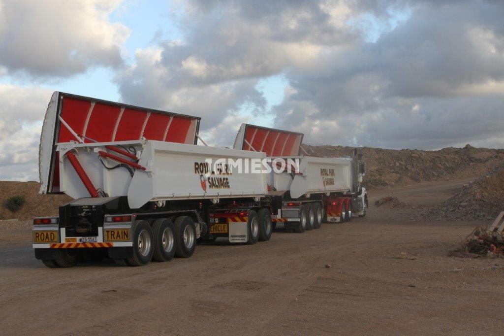Hardox Side Tipper with Remote Opening Lids - Semi Tri-Axle Road Train Combination