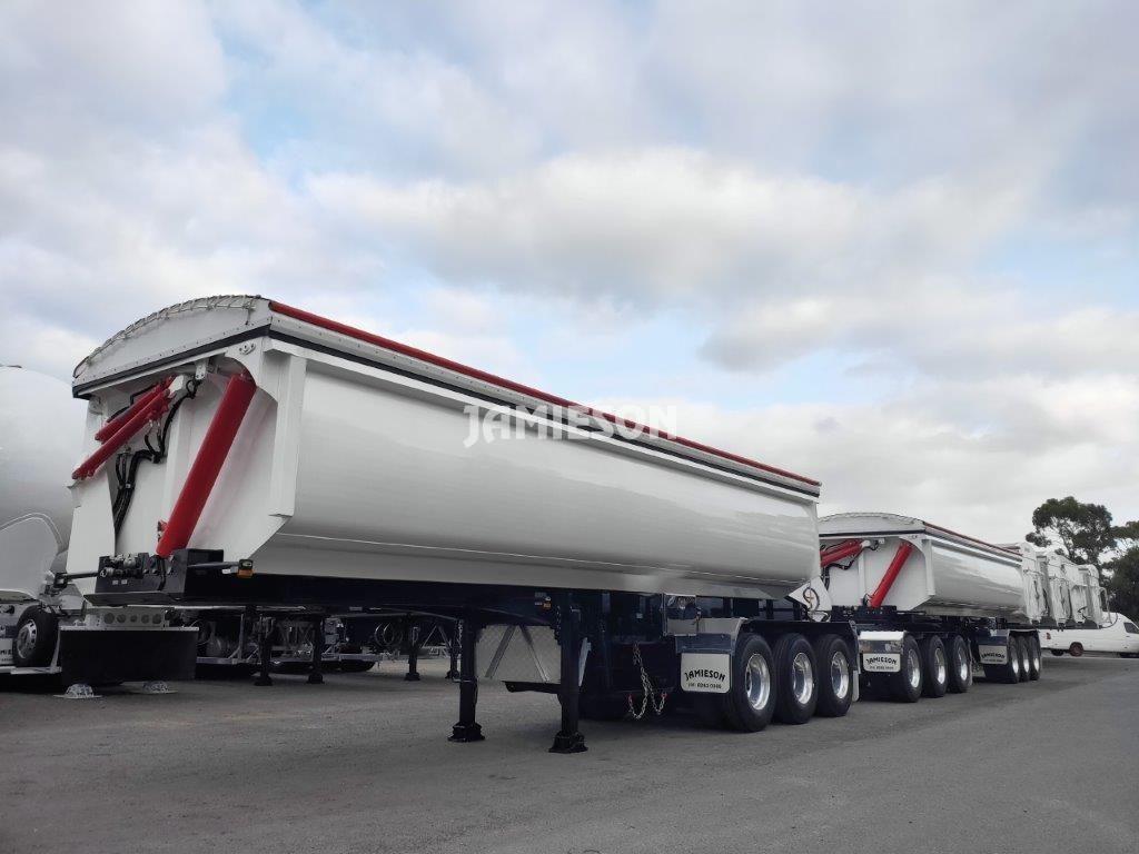 Hardox Steel Side Tipper - Tri-Axle - With Hydraulic Lid - Road Train Combination