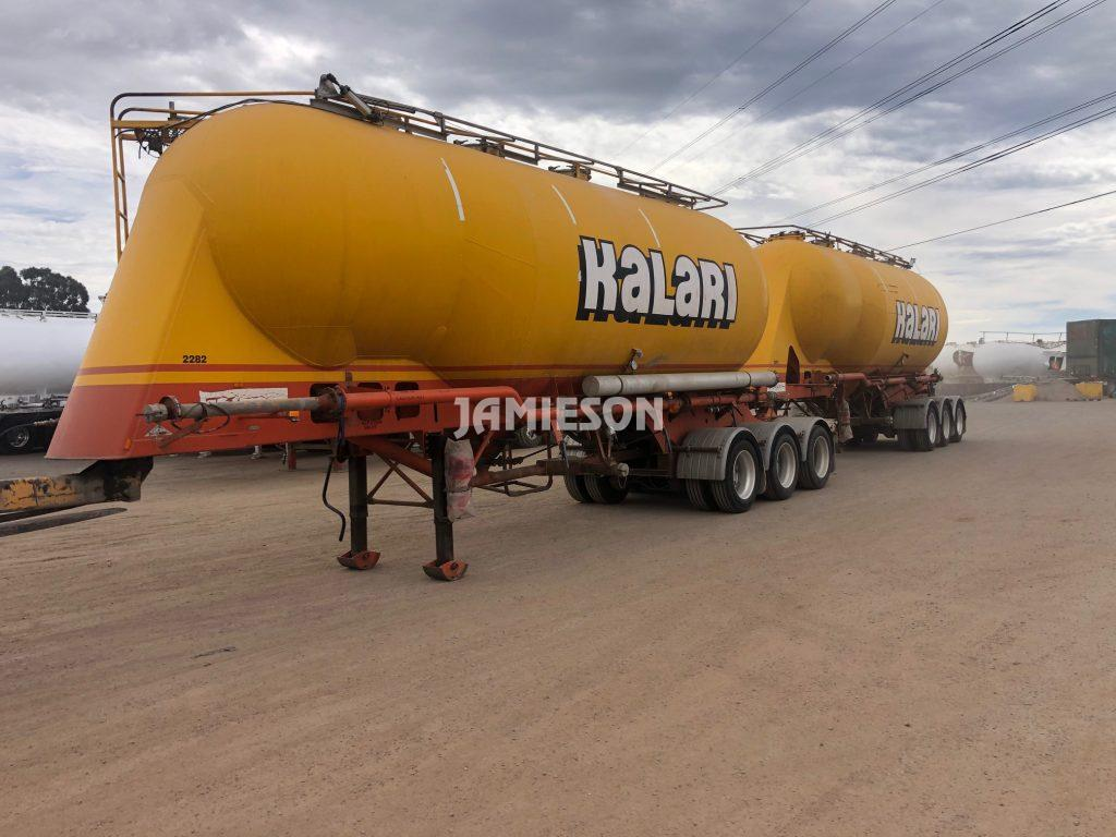 2000 Kockums B-Double Pneumatic / Dry Bulk Tanker Set - 34m3 / 33m3 Tri-Axle