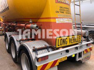 2000 Kockums B-Double Pneumatic / Dry Bulk Tanker Set - 34m3 / 33m3 Tri-Axle